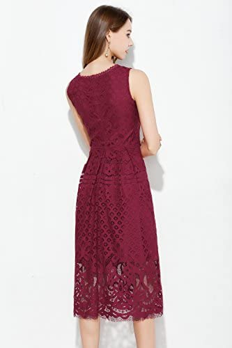 VEIISAR Womens Fashion Sleeveless Lace Fit Flare Elegant Cocktail Party Dress 2