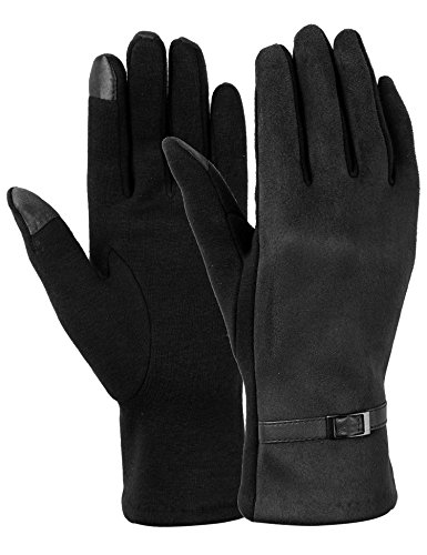 Dimore Womens Touch Screen Phone Fleece Windproof Gloves Winter Warm Wear Black