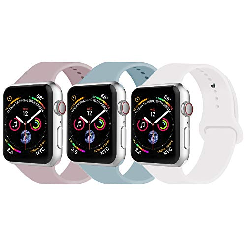 VATI Sport Band Compatible with Watch Band 38mm 42mm 40mm 44mm, Soft Silicone Strap Replacement Bands Compatible with Smart Watch Series 4/3/2/1 S/M M/L(3 Pack F,42mm M/L)