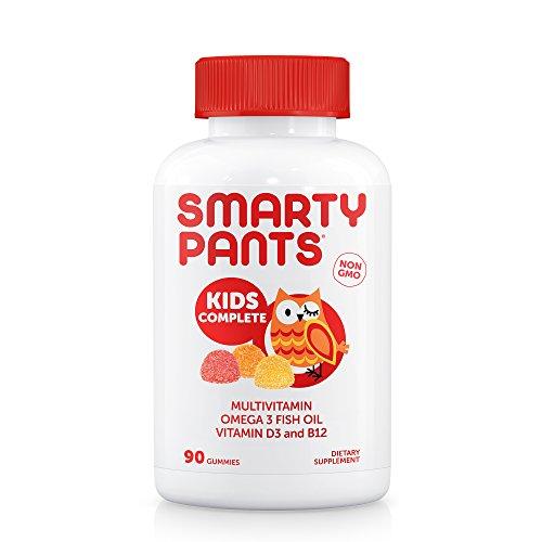 SmartyPants Kids Complete Gummy Vitamins: Multivitamin & Omega 3 Fish Oil (DHA/EPA Fatty Acids), Vitamin D3, Methyl B12, 90 Count