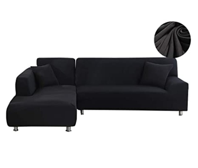 Amazon Com Womaco L Shape Sofa Covers Sectional Sofa Cover 2 Pcs Stretch Sofa Slipcovers For L Shape Couch L Shape 33 Seats Black Home Kitchen
