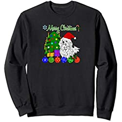 Christmas Maltese Dog Lover Sweatshirt Xmas Tree Gift