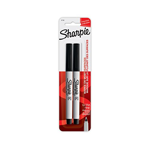 Sharpie Ultra Fine Point Permanent Markers, Black Ink, Resists Fading and Water, Blister Pack with 2 Markers (37161PP)