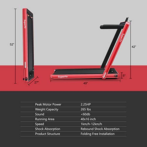 Goplus 2 in 1 Folding Treadmill with Dual Display, 2.25HP Under Desk Electric Pad Treadmill, Installation-Free, Bluetooth Speaker, Remote Control, Walking Jogging Machine for Home/Office Use 8