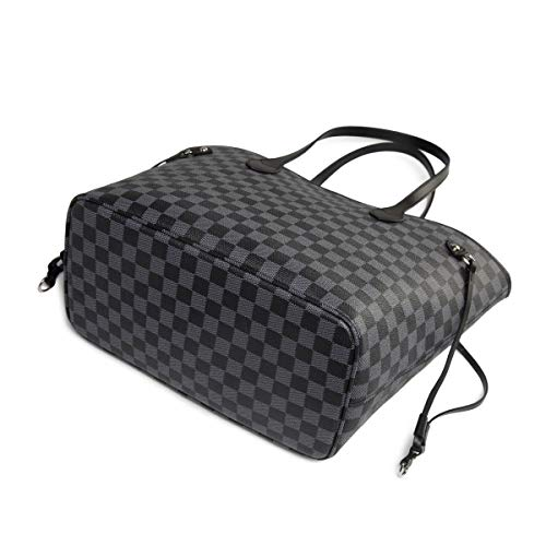 Daisy Rose Checkered Tote Shoulder Bag with inner pouch - PU Vegan Leather 5 Fashion Online Shop gifts for her gifts for him womens full figure