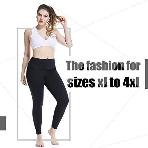 YOHOYOHA Women's Yoga Pants Plus Size Breathable Mesh Splice Tummy Control Best Long Workout Fitness Pants for 4 Way Stretch 2