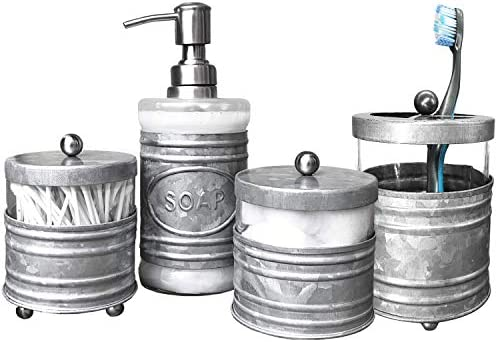 Autumn Alley Rustic Farmhouse Glass and Galvanized Bathroom Accessories Set (4 PCS) – Lotion Soap Dispenser, Toothbrush Holder, 2 Apothecary Jars (Qtip Holder) – Rustic Farmhouse Bathroom Decor