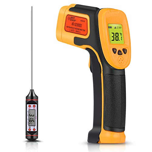 Infrared Thermometer, Digital IR Laser Thermometer Temperature Gun -26°F~1022°F (-32°C~550°C) Temperature Probe Cooking/Air/Refrigerator - Meat Thermometer Included