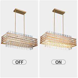 TZOE-Modern-Rectangle-ChandelierCrystal-Chandeliers-for-Dining-RoomsL291-x-W114-x-H4856-LightAdjustable-Height