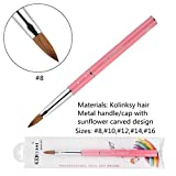 KEMEISI Kolinksy Nail Brush Sunflower Pink Handle Sable Acrylic Brush Factory Direct Crimped Size 8,10,12,14,16 (#8)