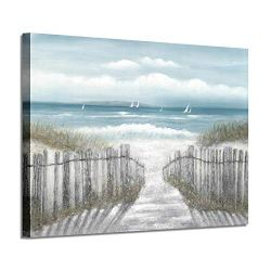 """Abstract Beach Picture Wall Art: Seascape Artwork Seaside Path Canvas Painting for Living Room (36"""" x 24"""" x 1 Panel)"""