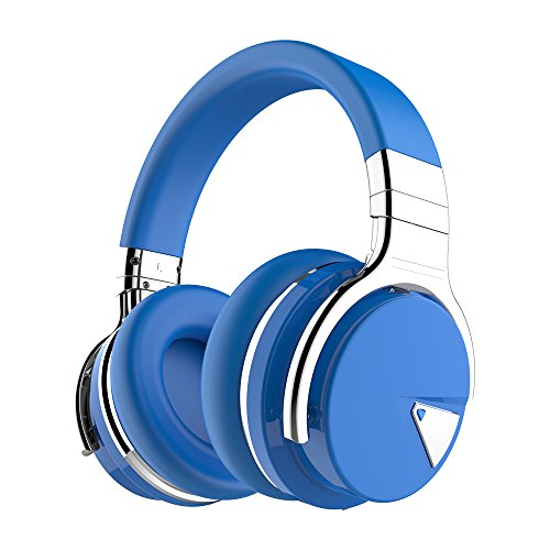 COWIN E7 Active Noise Cancelling Bluetooth Headphones with Microphone Wireless Headphones Over Ear, 30H Playtime for Travel/Work/TV/Computer/Cellphone - Blue