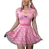 Littleforbig Adult Baby Diaper Lover (ABDL) Button Crotch Adult Baby Onesie Bodysuit - Hello Meow-Meow Onesie L Pink