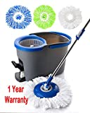 Simpli-Magic 79154 Spin Cleaning System-3 Microfiber Mop Heads Included, Blue/Gray