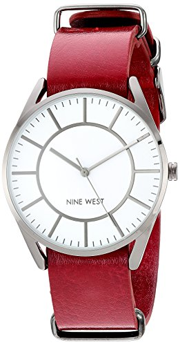 41pUh2fC2dL Domed mineral crystal; matte white dial with gunmetal hands and markers; black printed outside minute track Burgundy slip through strap with buckle closure Japanese-quartz Movement