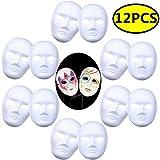 Coxeer DIY White Mask, 12 PCS Paper Full Face Opera Masquerade Mask Plain Mask Halloween Mask Mardi Gras Mask