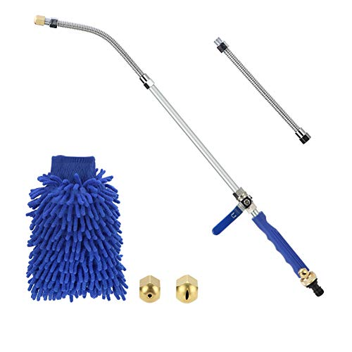 Sensphi Hydro Jet Power Washer Wand – Upgrade Water Hose Nozzle, Garden Hose Sprayer, Watering Jet for Car Wash and Window Washing, Flexible Gutter Cleaning Tool, 2 Tips (Blue 27) (Blue)
