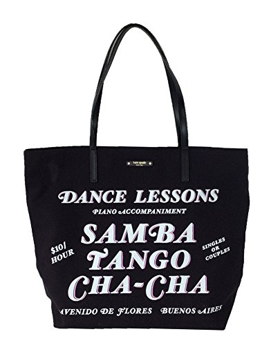 41pa5i671WL Bon shopper shoulder bag crafted in canvas with smooth cowhide trim Front 'Dance lessons' text. Front gold printed signature on leather license plate.