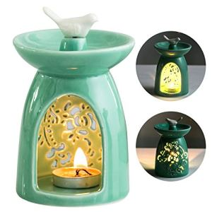 WANYA Ceramic Tea Light Holder, Aromatherapy Essential Oil Burner, Wax Warmer Great Decoration for Living Room, Balcony, Patio, Porch and Garden (Green)