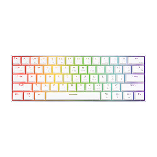 RK61 60% RGB Mechanical Gaming Keyboard Small Compact 61 Keys, Wired/Wireless Bluetooth Mini Portable Keyboard Gaming/Office for iOS Android Windows and Mac with Programmer Brown Switch - White