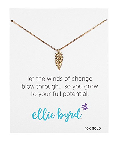 "41pduZpfGQL ellie byrd necklace featuring dainty leaf pendant with genuine diamonds set in 10k yellow gold Comes in a gift box with a sentiment card that reads: Let the winds of change blow through... so you grow to your full potential. Celebrate the little things that bring joy to your life with the ""long weekend"" collection; ellie byrd jewelry is delicately crafted with a touch of whimsy and sense of adventure"