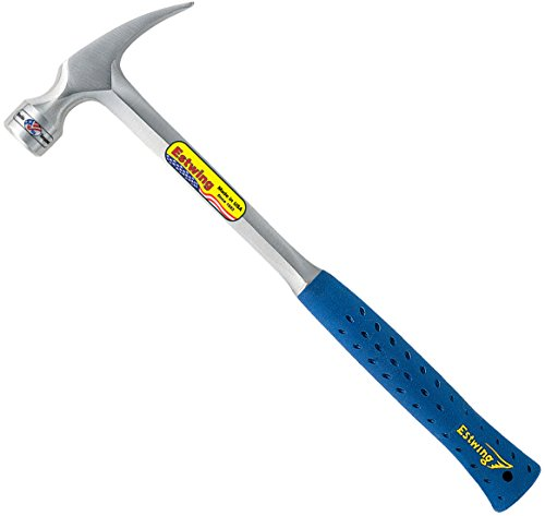 Estwing Framing Hammer - 22 oz Long Handle Straight Rip Claw with Milled Face & Shock Reduction Grip - E3-22SM