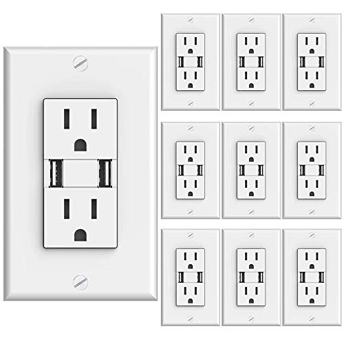 Sunco Lighting 10 Pack Wall Mount Charger USB Outlet, 15A Tamper Resistant Receptacle, 125VAC, 3.1AMP 5VDC Charging Capability, Duplex Receptacle, White - UL Listed