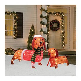 Light-Up Holiday Dachshund Family, 2-Piece Set