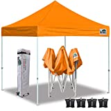 Eurmax 10'x10' Ez Pop Up Canopy Tent Commercial Instant Canopies with Heavy Duty Roller Bag,Bonus 4 Sand Weights Bags(Orange)
