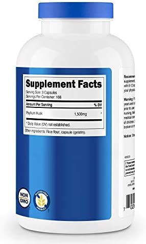 Nutricost Psyllium Husk 500mg, 500 Capsules - 1500mg Per Serving, Non-GMO & Gluten Free 6