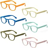Reading Glasses 6 Pack Great Value Quality Readers Spring Hinge Color Glasses (6 Pairs MIx Color, 0.50)
