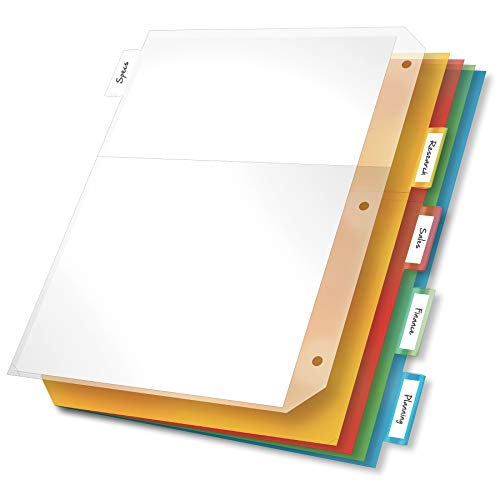 Cardinal Ring Binder Divider Pockets with Index Tabs, Letter Size, Assorted Colors, 5 per Pack (84009)