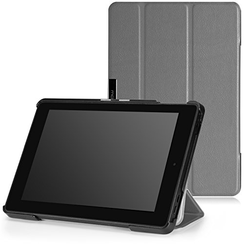 MoKo Case for Fire HD 7 2014 - Slim Lightweight Smart Shell Cover with Auto Wake / Sleep for Amazon Kindle Fire HD 7 Inch 4th Generation Tablet (Not Fits HD 7 2015), GRAY