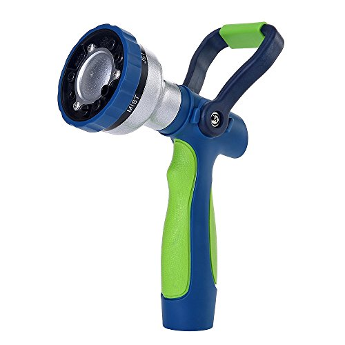 GREEN MOUNT New Patent Garden Hose Nozzle, Heavy Duty Water Nozzle, High Pressure Fireman's Nozzle with Ergonomic Handle for Women and Children to Water Lawn and Garden