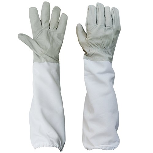 BESTOPE Beekeeping Gloves Canvas Protective Equipment Gloves with Vented Long Sleeves 4.33 inch 1 Pair(White with Gray)