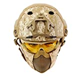 Geelife PJ Type Tactical Gear Paintball Fast Helmet with Ear Protect Foldable Half Face Mesh Mask and Goggles Set (Desert)
