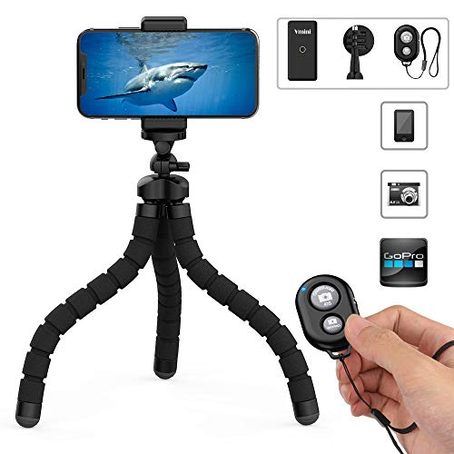 Phone Tripod, Vmini 11″ Extended & Flexible Tripod for iPhone, with Rock-Solid Quality, Bluetooth Remote Shutter for iOS/Android Phone, Accessories Perfect for Mobile Phone, Camera, Gopro Camera