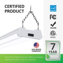 Sunco-Lighting-12-Pack-LED-Utility-Shop-Light-4-FT-Linkable-Integrated-Fixture-40W260W-6000K-Daylight-Deluxe-Frosted-Lens-Surface-Suspension-Mount-Pull-Chain-Garage-ETL-Energy-Star