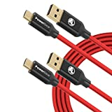 PowerBear Micro USB Cable [2-Pack] 6ft Fast Charge Premium Micro USB [2.4A] with Gold Plated Connectors and Braided High Strength Nylon - Red