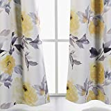 MYSKY HOME Printed Floral Curtains for Living Room, Room Darkening Grommet Curtain Panels 42 inch Wide by 84 inch Length (Yellow, 1 Pair)