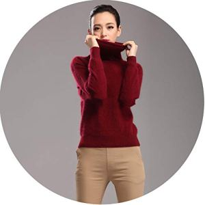 world-palm 2018 New 100% Pure Mink Cashmere Sweater Female high Collar Pullover