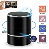 Hidden Camera Spy Camera Bluetooth Speaker, WiFi HD 1080P DVR Rotate 180°Lens Remote View Music Player Security Camera Night Vision Motion Detection for Home Office