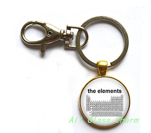 Charming Keychain,Periodic Table of The Elements - Science Jewelry - Chemistry - Elemental Table - Science Teacher - Chemicals,AS120
