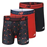 New Balance Men's 6' Boxer Brief Fly Front with Pouch, 3-Pack, Team Red/Black/Team Red Viper, X-Large