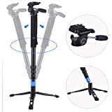 DIGIANT MP-3606 Professional Video Monopod 70' Aluminum Telescopic DSLR Camera Monopod with Fluid Head and Tripod Base, Include Carrying Bag, Black
