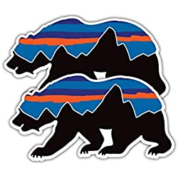 Summit Stickers Patagonia Bear Decals for Water Bottles Mountain Camping Travel Adventure Fishing [Premium Matte Vinyl]