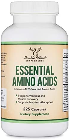 Essential Amino Acids - 1 Gram Per Serving Powder Blend of All 9 Essential Aminos (EAA) and all Branched-Chain Aminos (BCAAs) (Leucine, Isoleucine, Valine) 225 Capsules by Double Wood Supplements 6