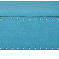 Christopher Knight Home Living Dynasty Fabric Storage Ottoman (Teal), 18.25″ D x 42.00″ W x 18.25″ H