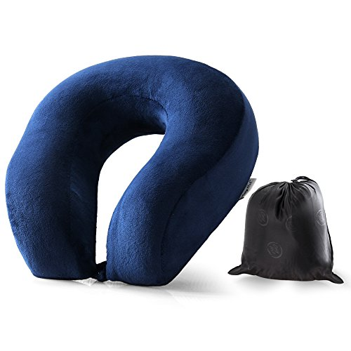 Cozy Hut Easy to Carry Memory Foam Travel Neck & Cervical Pillow, Head Chin and Neck Support Washable Micro-Fiber Cover with Storage Bag, Navy Blue