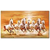 YJFFBH Seven Running White Horse Animals Painting Artistic Canvas Art Gold Posters and Prints Modern Wall Picture for Living Room